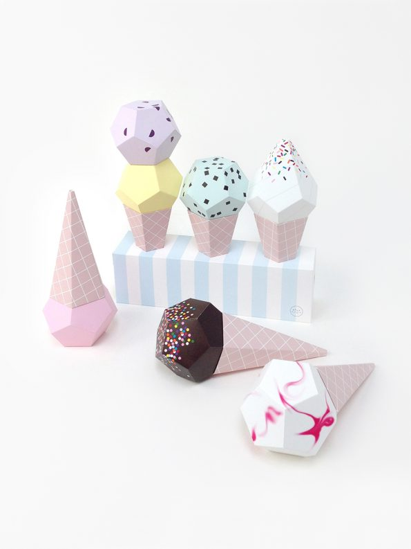 3D paper ice creams - paper craft kit by Moon Picnic