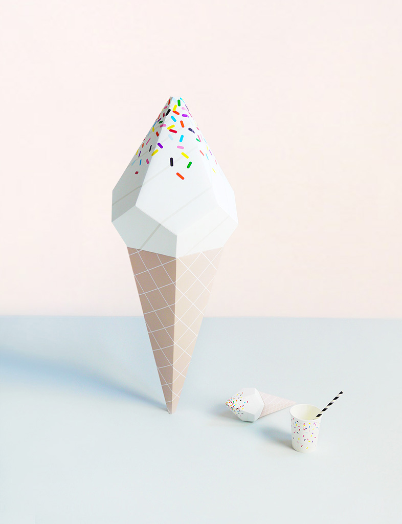 Giant Ice Cream Paper Sculpture Kit - Vanilla Soft Serve