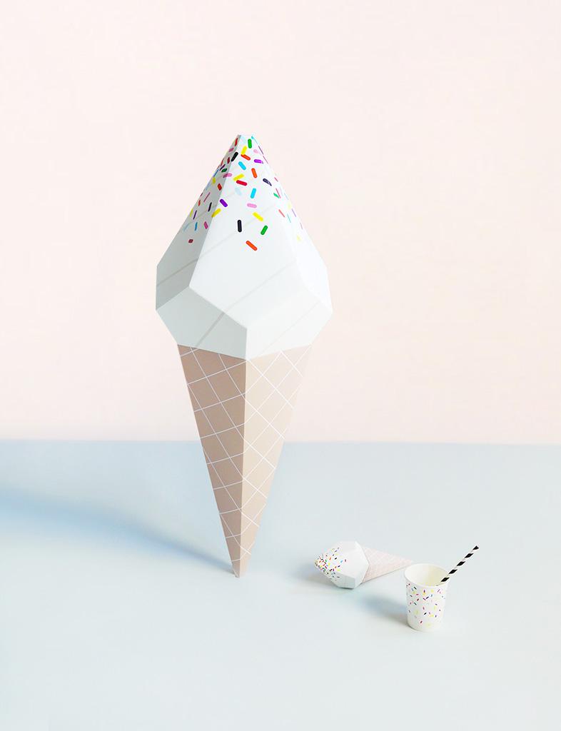 Giant Ice Cream Paper Sculpture Kit - Vanilla Soft Serve