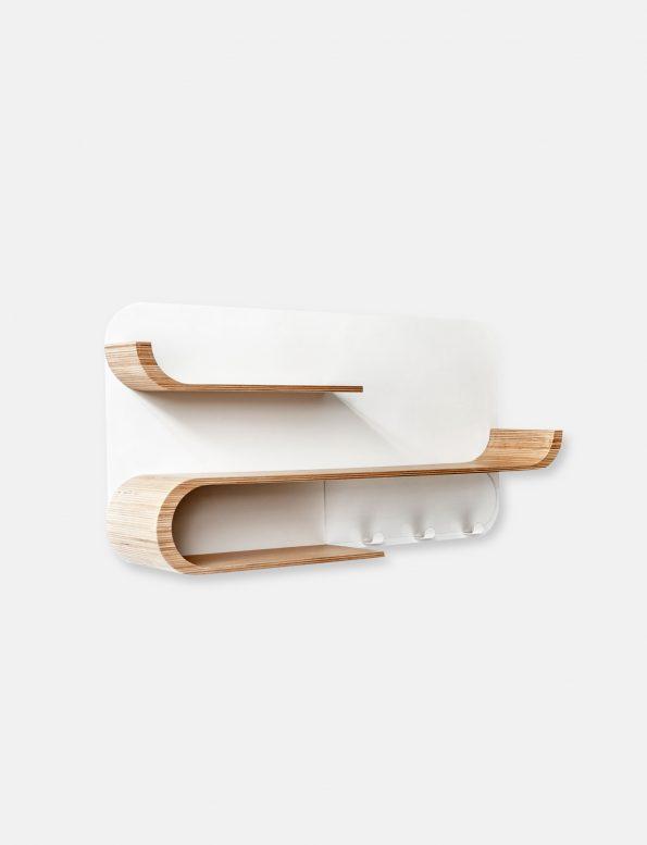 Rafa Kids, children's furniture made in Europe, M Shelf – wall shelf for kids room in natural wood and white metal