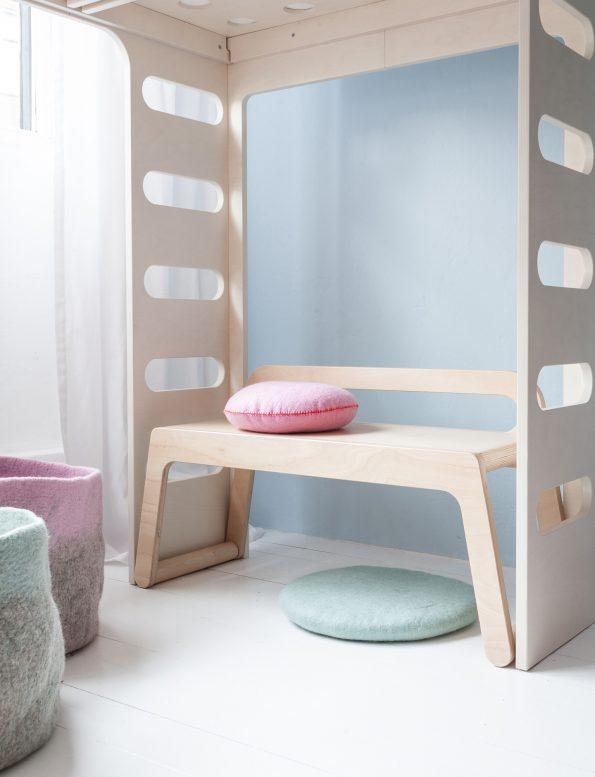 Rafa Kids BB bench, European kids furniture design, natural plywood bench with a low backrest for modern kids room