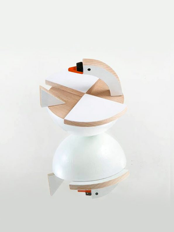 Labu The Wooden Swan by Kutulu - czech wooden toy white swan