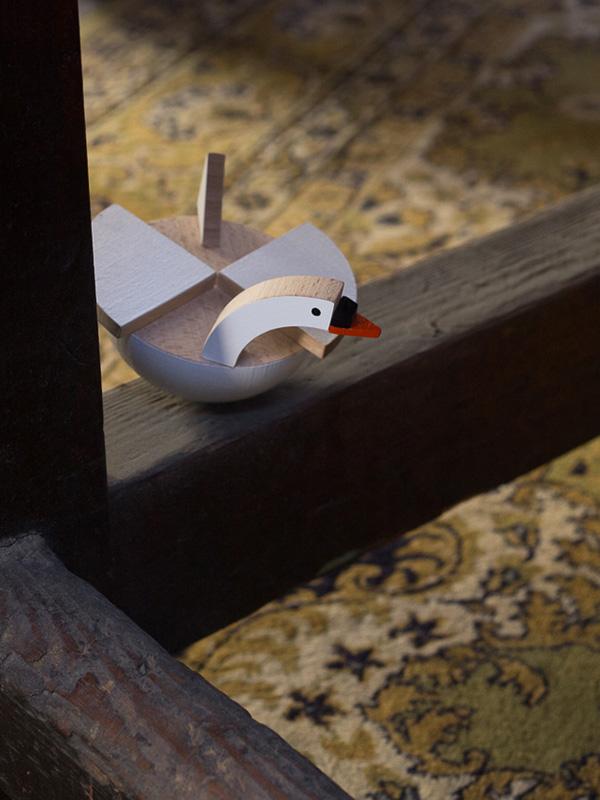 Labu The Wooden Swan by Kutulu - czech wooden toy white swan