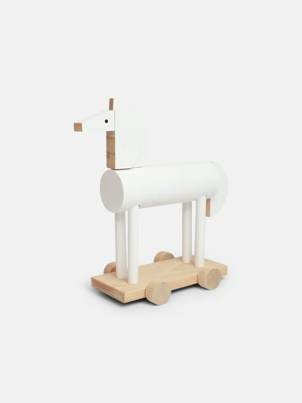 Ortus The Wooden Horse by Kutulu - contemporary Czech design animal wooden toy - white horse