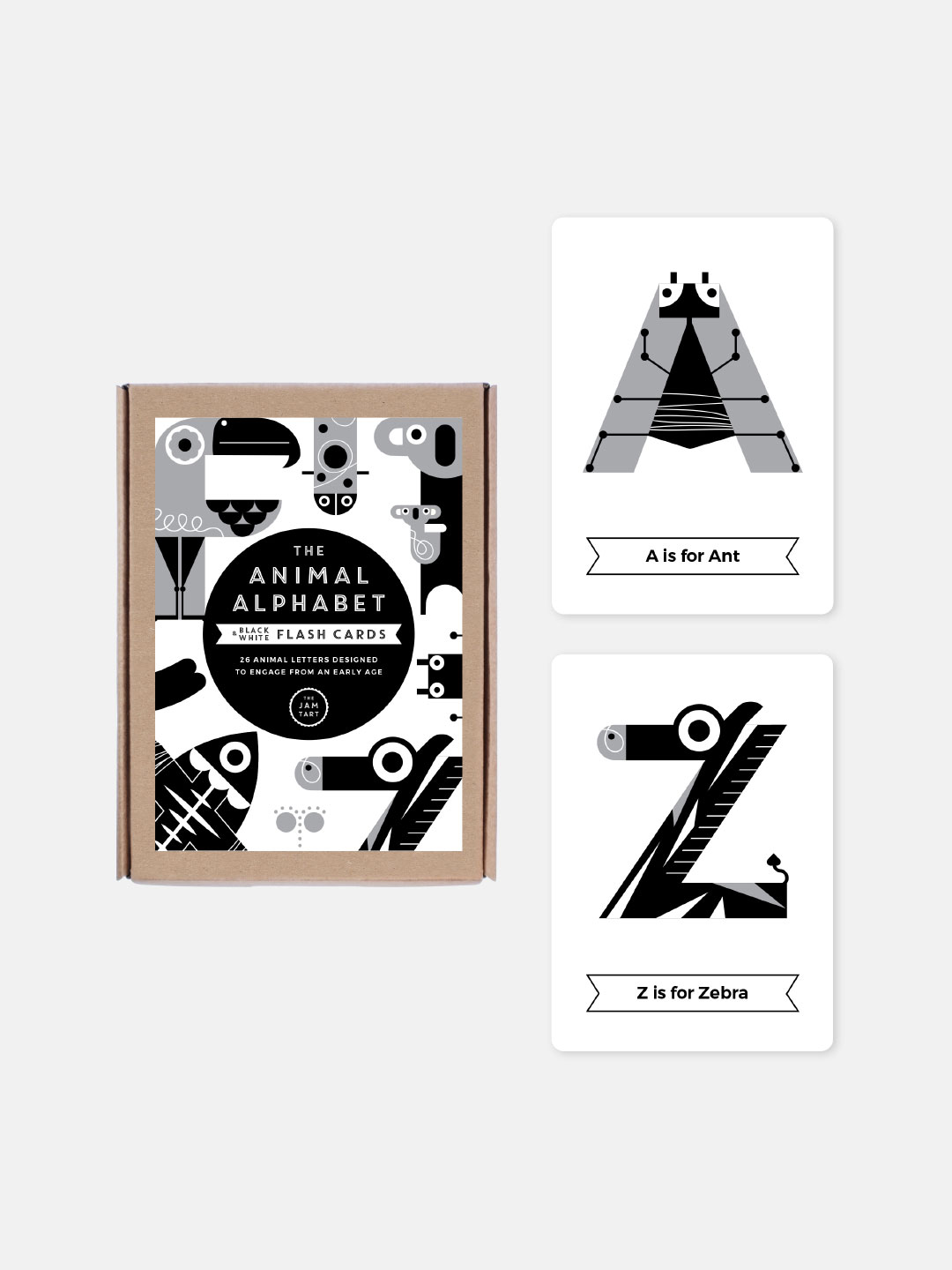 Animal Alphabet Flash Cards - Black & White