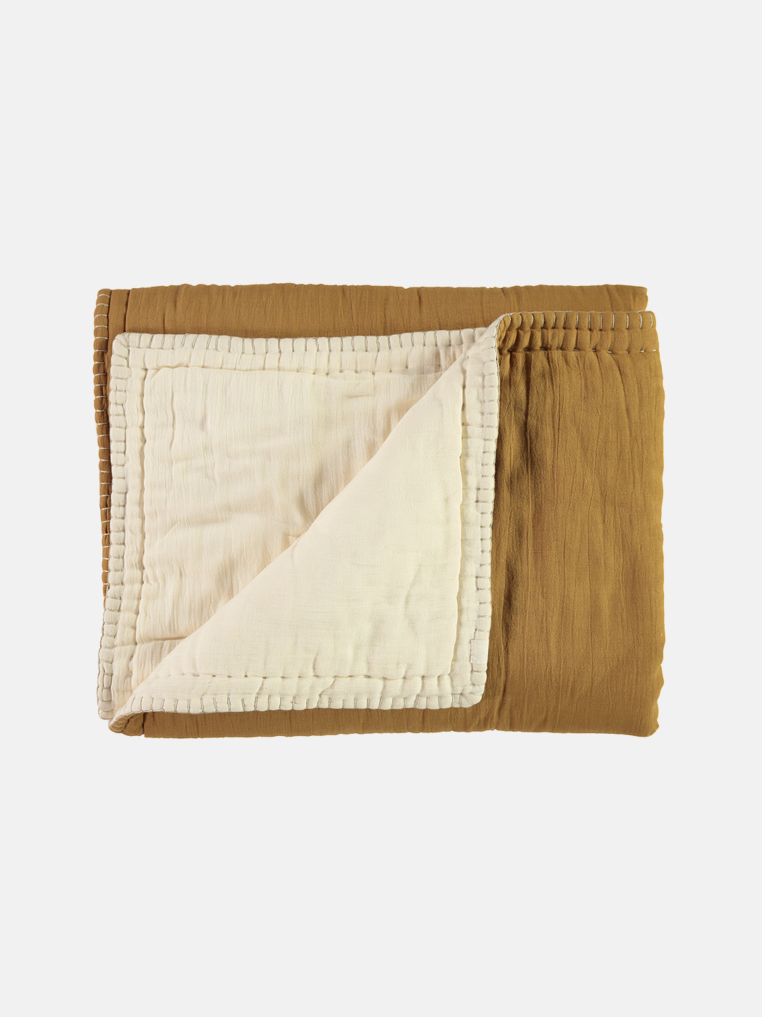 Reversible Embroidered Cotton Quilt Blanket - Ochre & Champagne