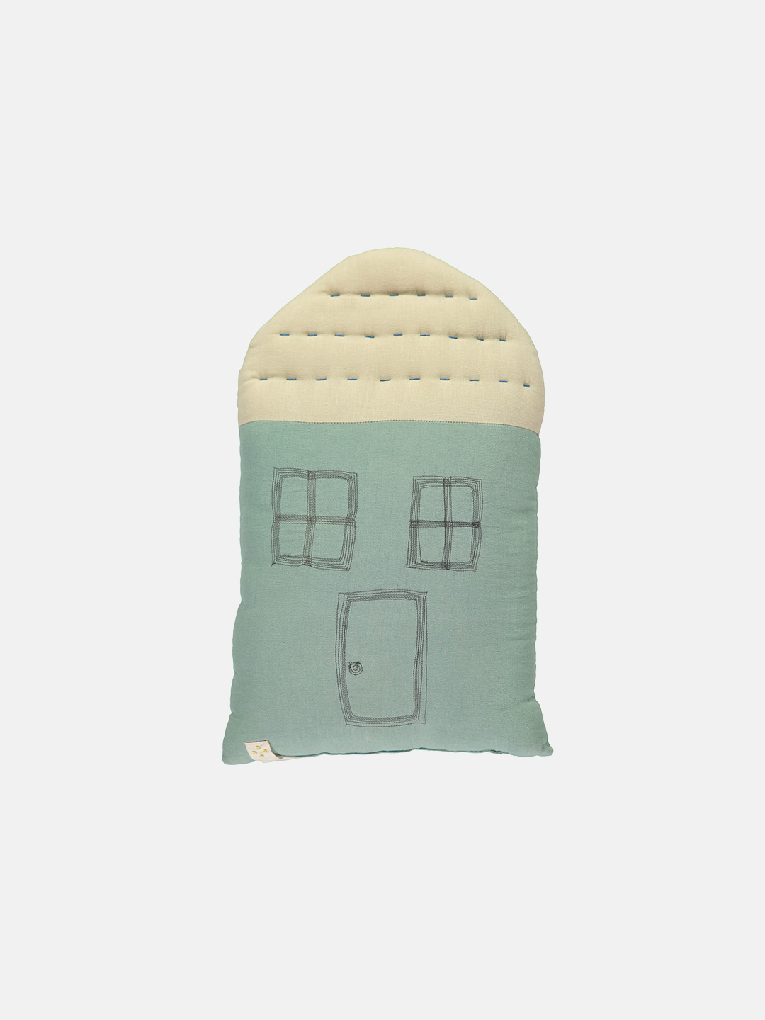 Midi House Cushion - Light Teal & Stone