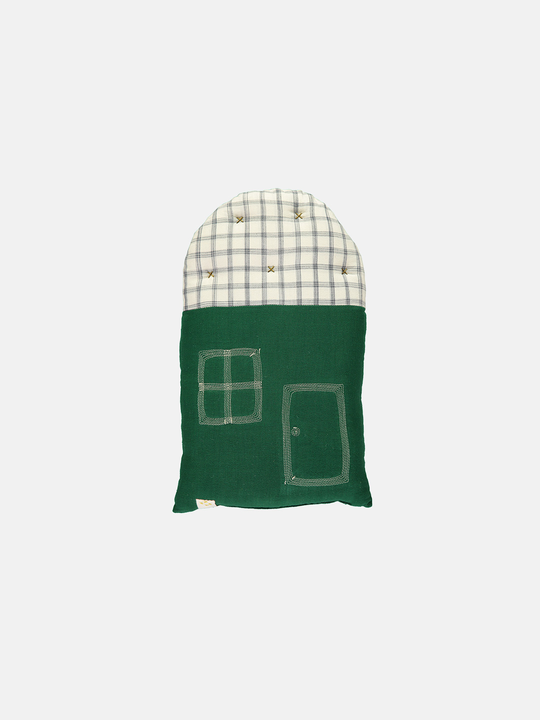 Small House Cushion - Forest Green & Ivory Ikat