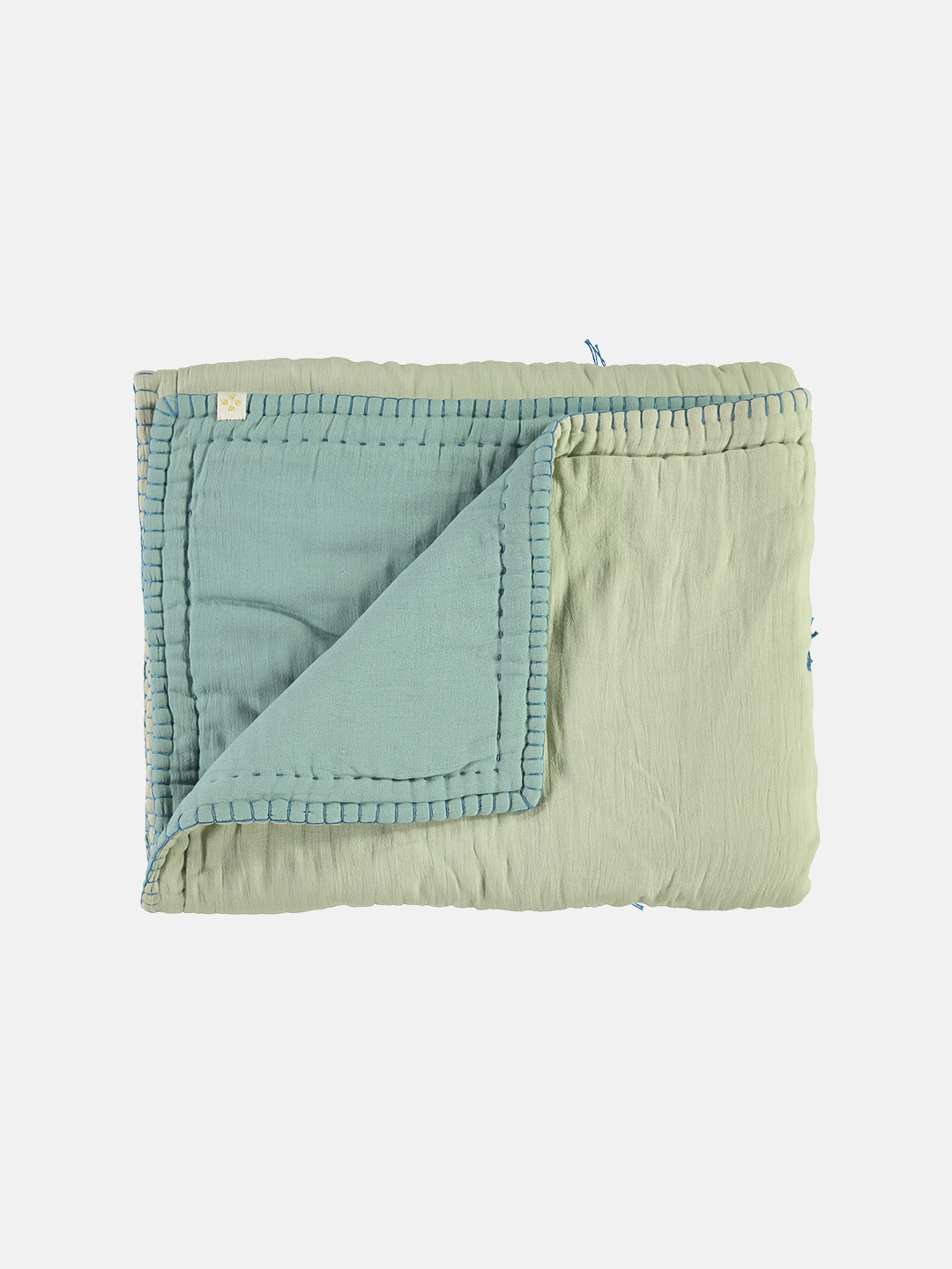 Reversible Embroidered Cotton Quilt Blanket -  Light Teal & Mint