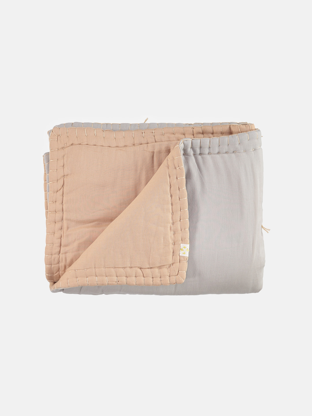 Reversible Embroidered Cotton Quilt Blanket - Peach Blossom & Ash