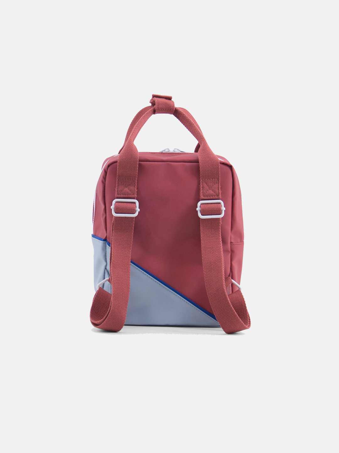 Small Backpack - diagonal faded red & powder blue