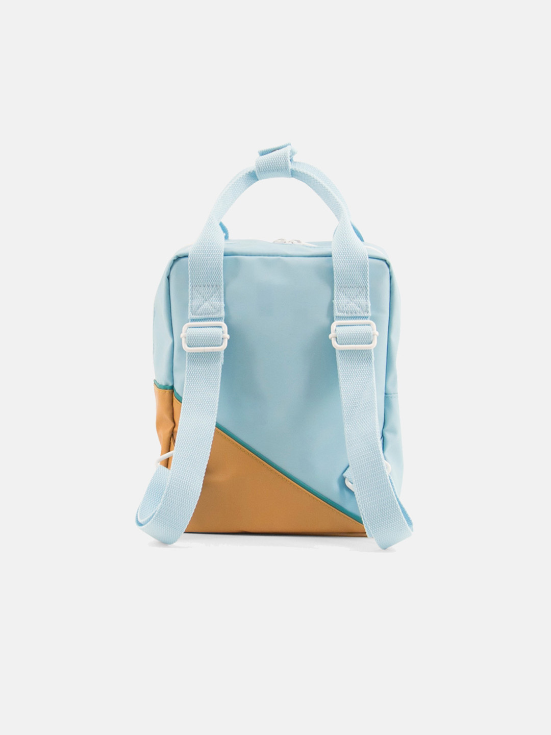 Small Backpack - diagonal light blue & fudge caramel