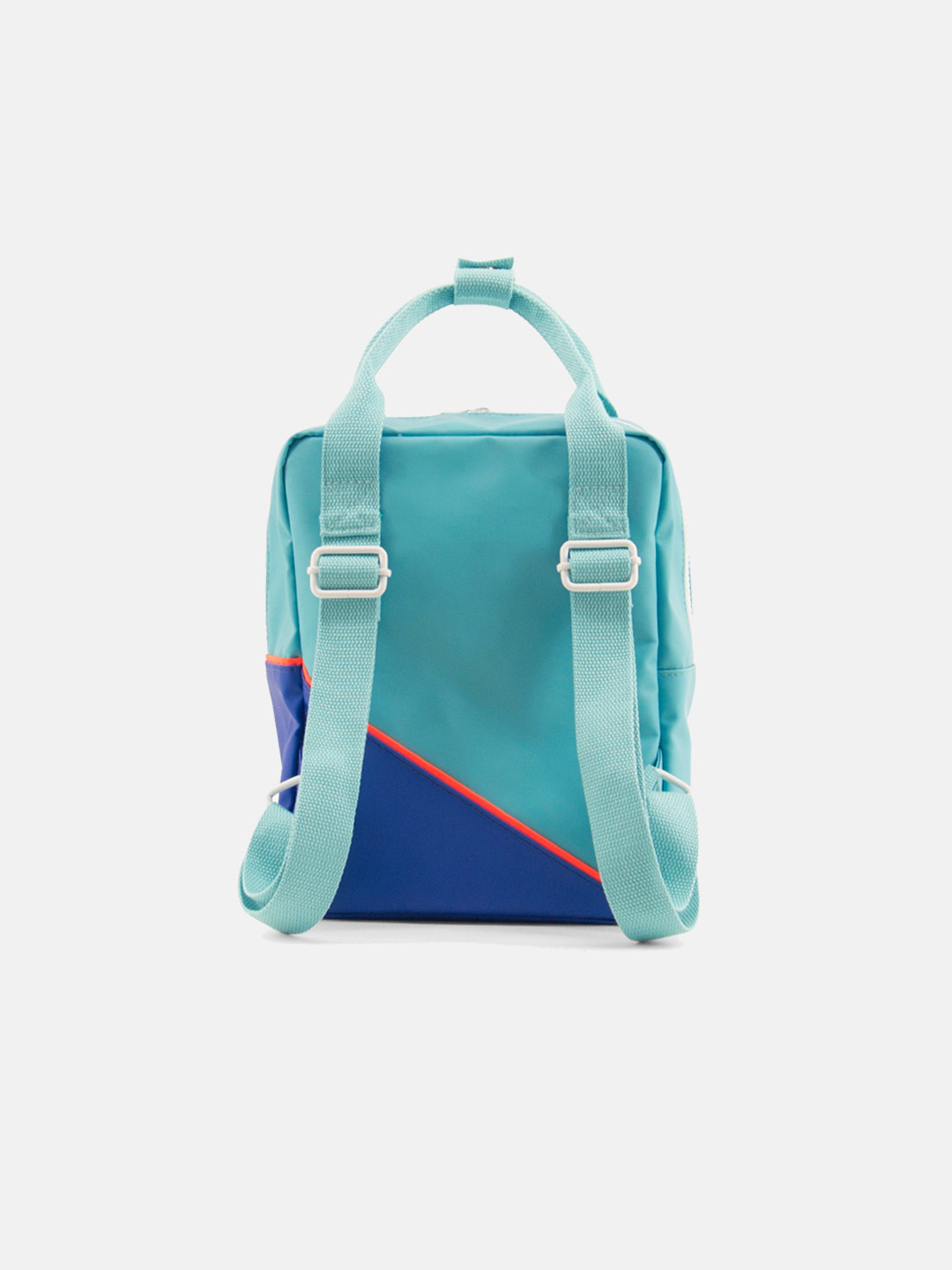 Small Backpack - Diagonal Retro Mint & Ink Blue