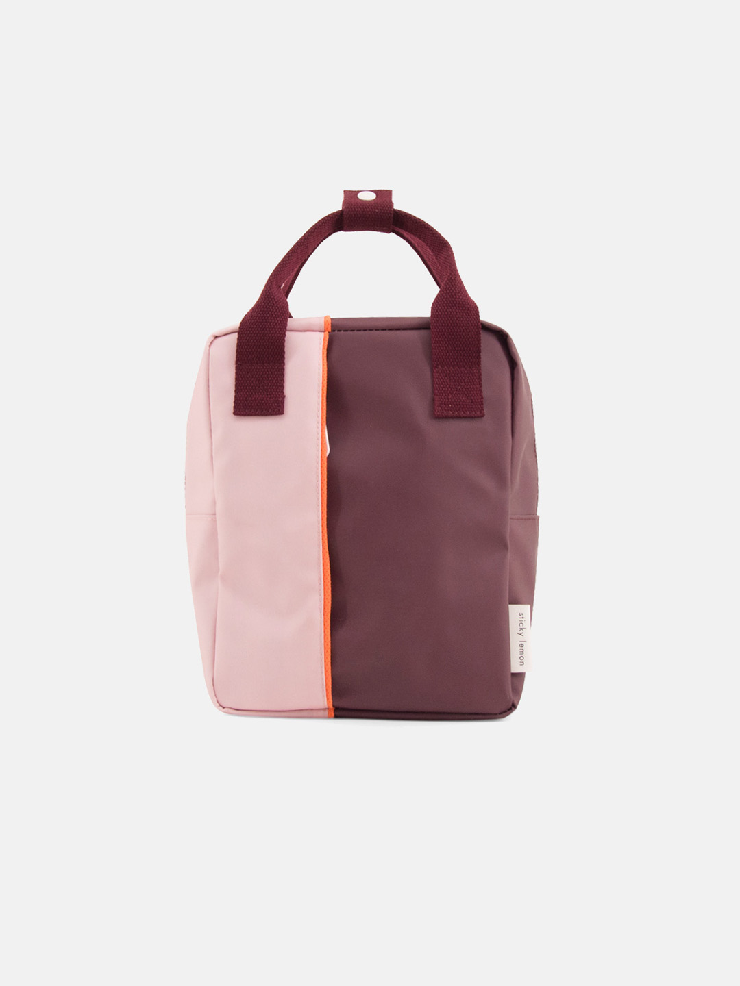Small Backpack - Vertical Blossom Pink & Eggplant