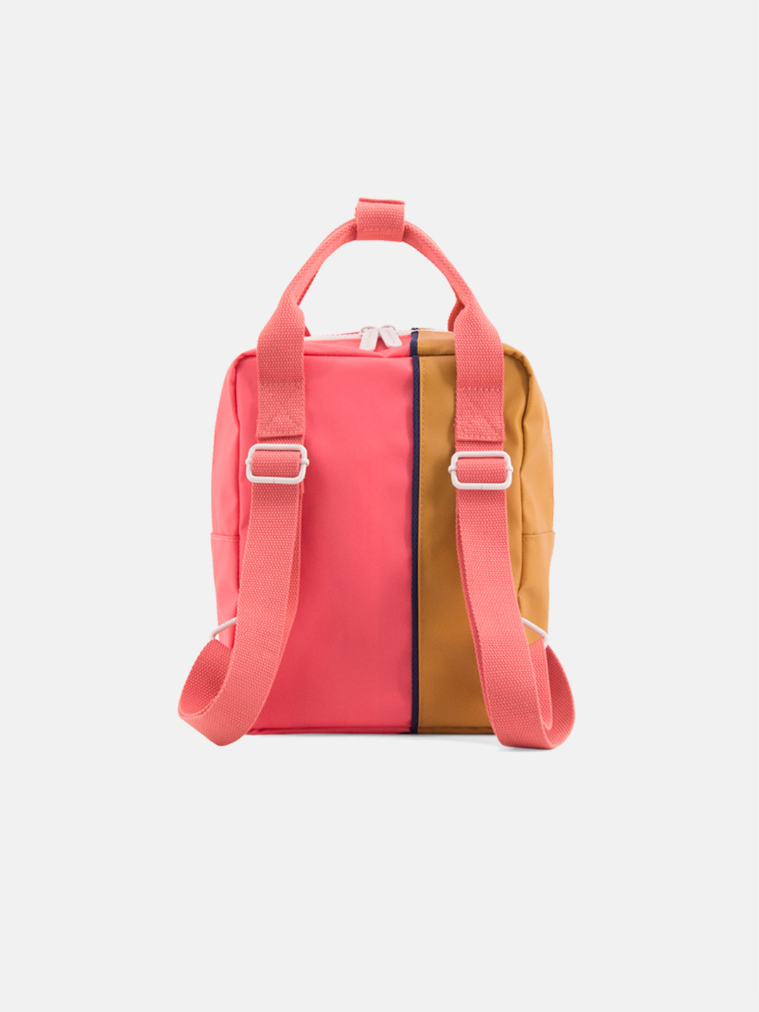 Small Backpack - vertical fudge caramel & watermelon pink
