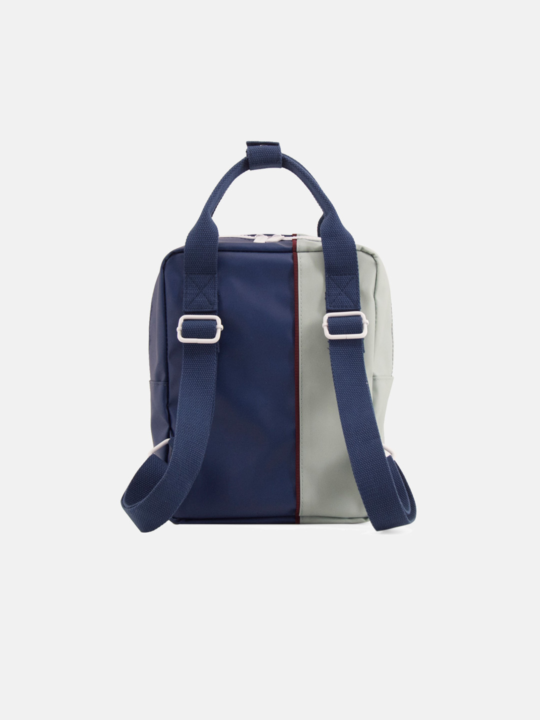 Small Backpack - vertical sage green & dark blue