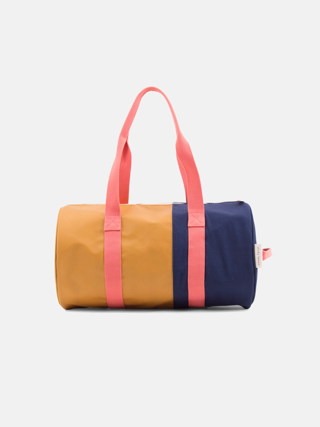 Duffle bag - vertical fudge caramel & dark blue