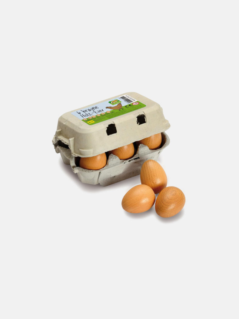 Wooden Food - Brown Eggs Six Pack