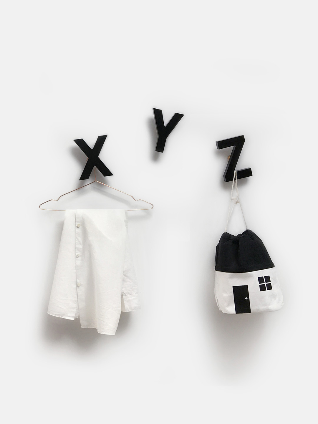 Alphabet Soup Wall hooks - XYZ (Black)